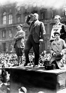 Germany: Ernst Thalmann (1886 - 1944), leader of the Communist Party of Germany (KPD), addressing a rally in late Weimar Germany, c. 1930