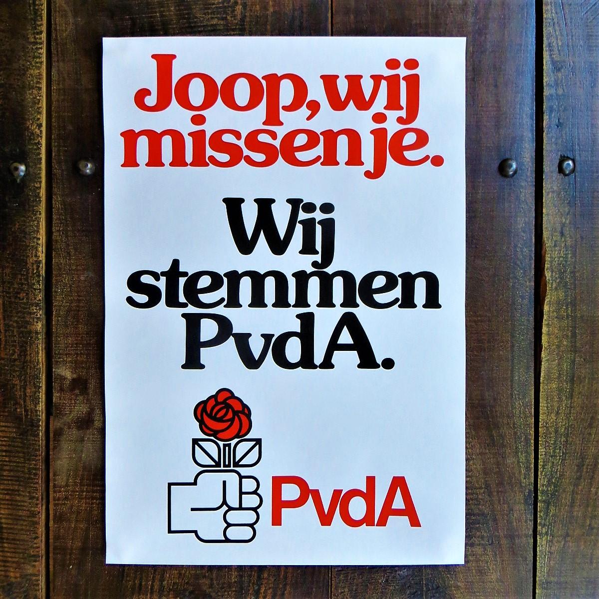 Poster PvdA Joop We Missen Je