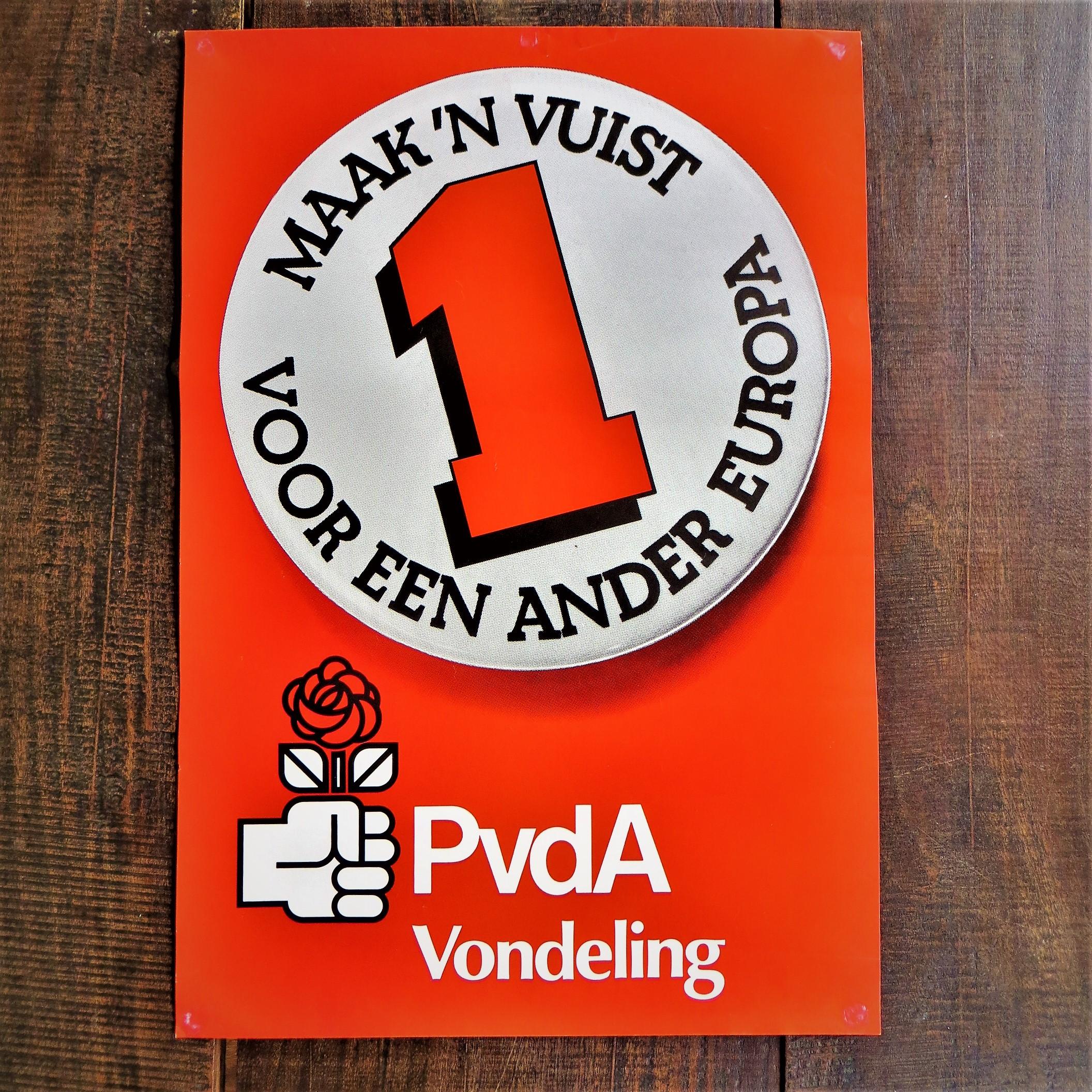 Poster PVDA maak een vuist voor een ander europa